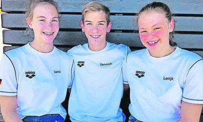 Lieferten Topzeiten ab: Jana Schomann (links), Yannick Poth und Lenja Hessberger vom SV Gelnhausen
