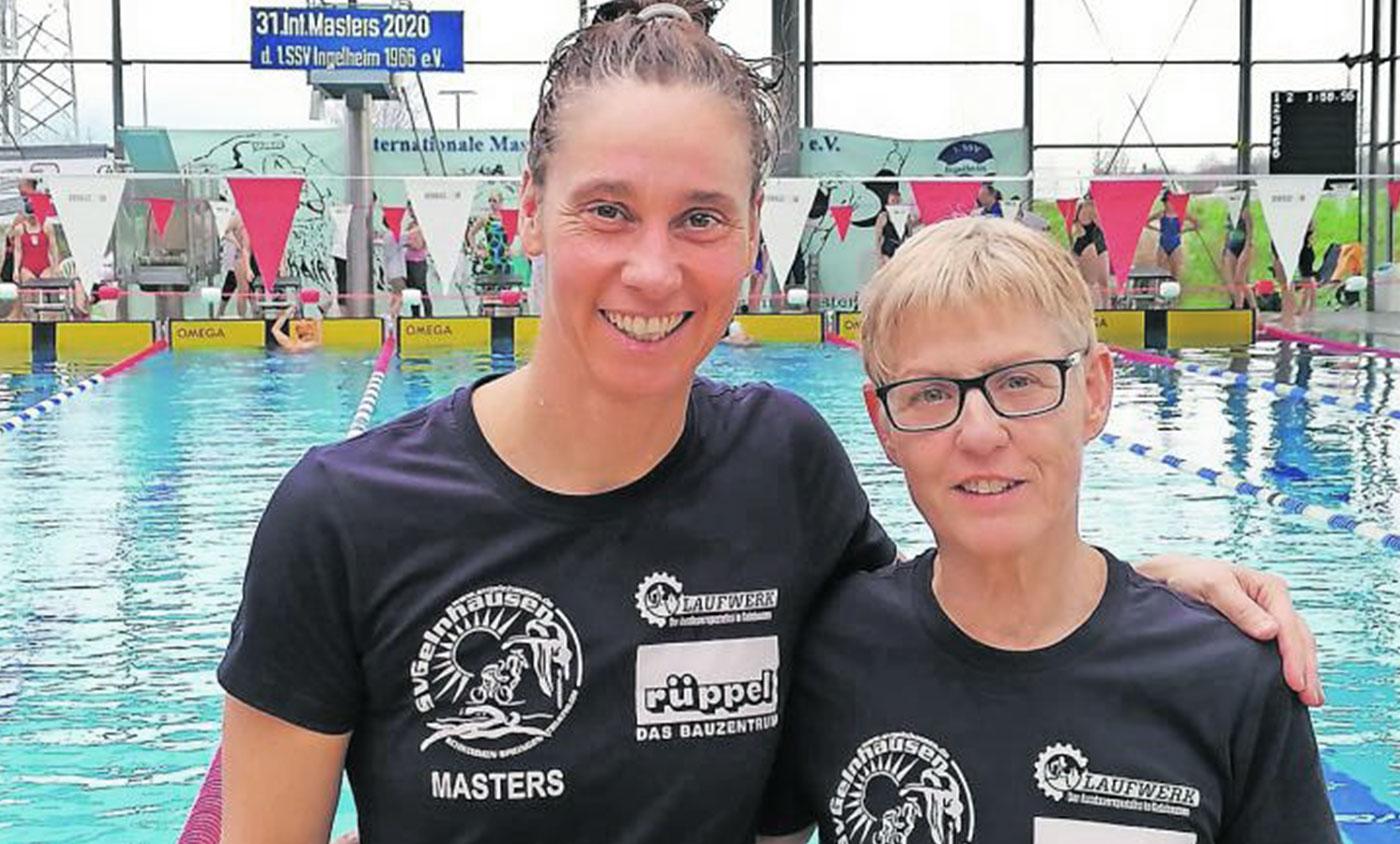 Die dominierende Antje Auhl (SV Gelnhausen, links) mit ihrer Vereinskameradin Annerose Trobisch